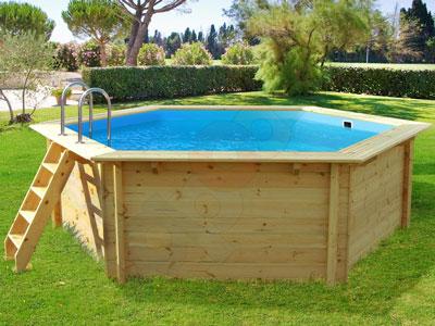 Beispiel Holzschwimmbecken Sechseck Im Garten. Ein Pool Aus Holz ...